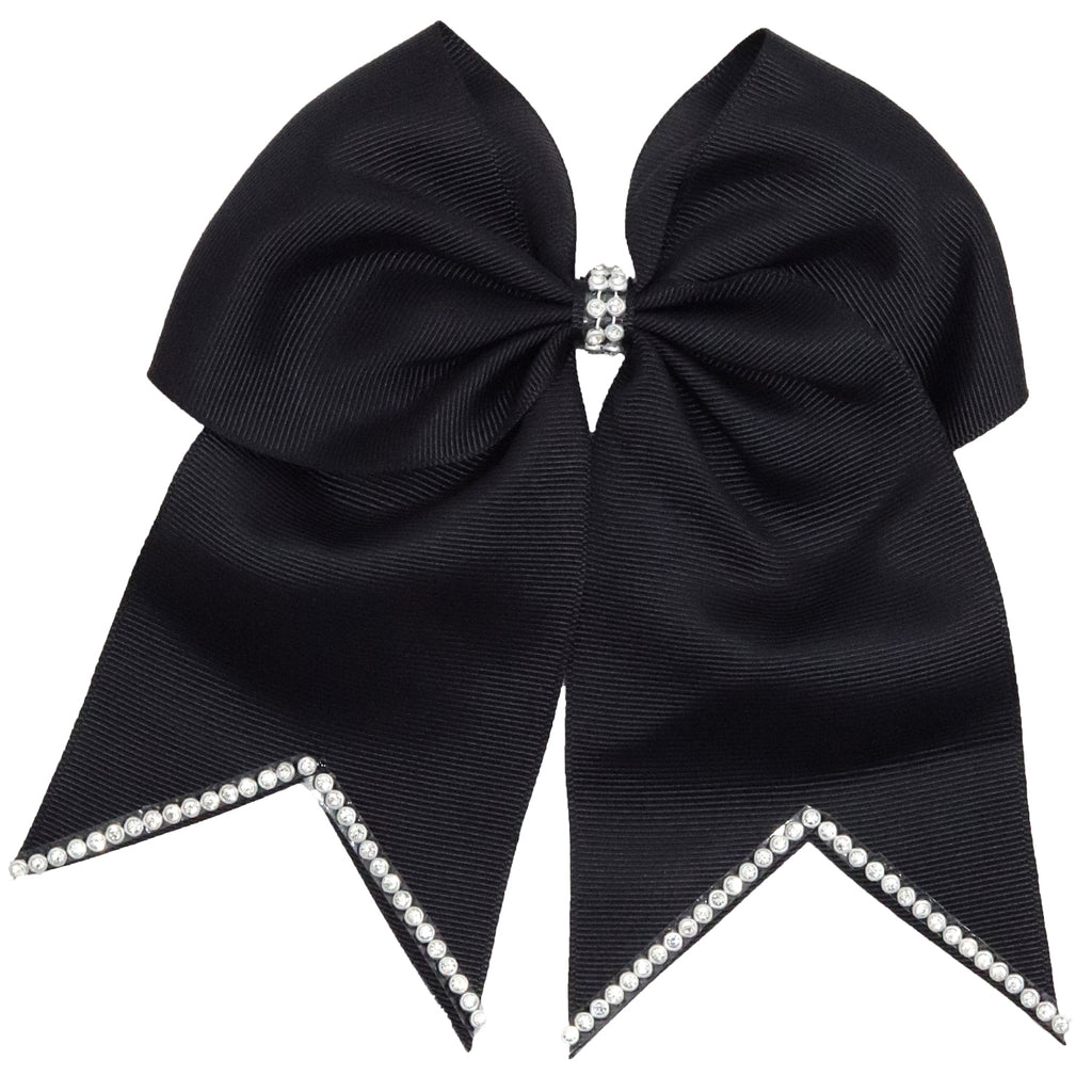 "1 Black Rhinestone Tip Cheer Bow for Girls 7"" Large Hair Bows with Ponytail Holder Ribbon"