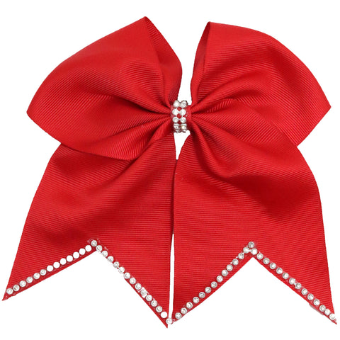"1 Red Rhinestone Tip Cheer Bow for Girls 7"" Large Hair Bows with Ponytail Holder Ribbon"