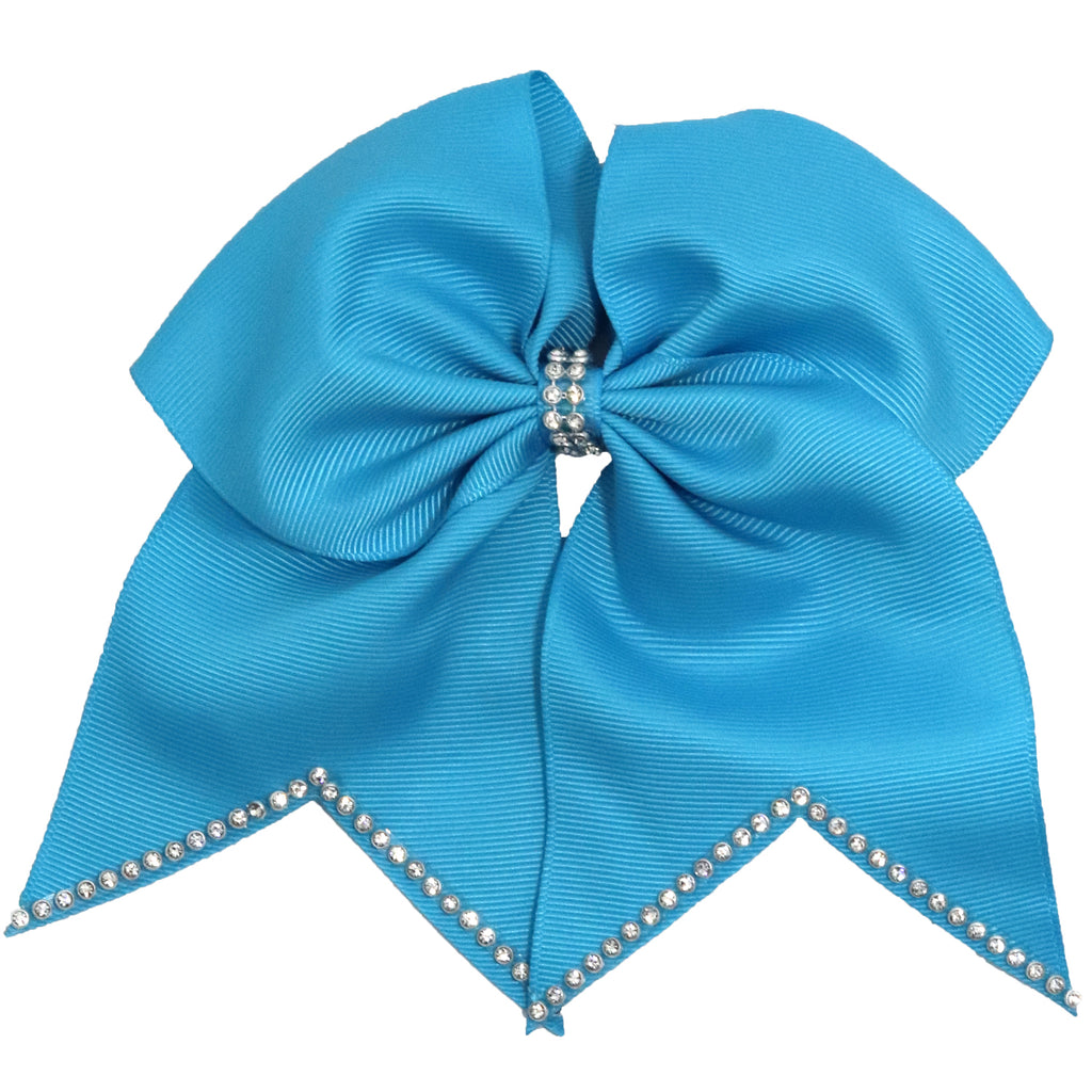 "1 Teal Rhinestone Tip Cheer Bow for Girls 7"" Large Hair Bows with Ponytail Holder Ribbon"