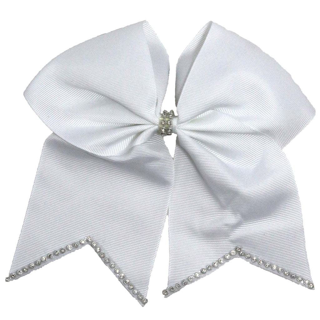"1 White Rhinestone Tip Cheer Bow for Girls 7"" Large Hair Bows with Ponytail Holder Ribbon"