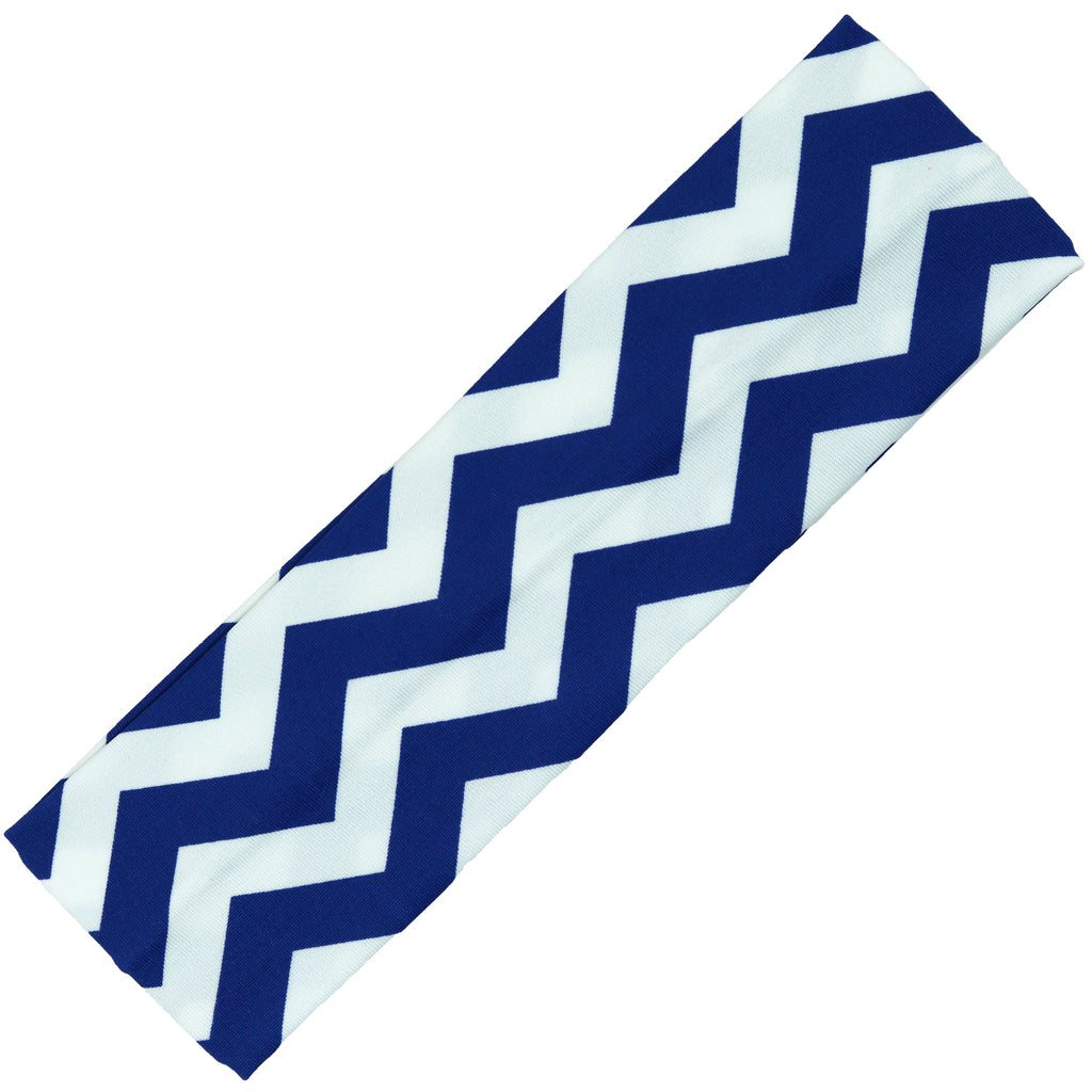 Cotton Headband Soft Stretch Headbands Sweat Absorbent Elastic Head Band Chevron Blue