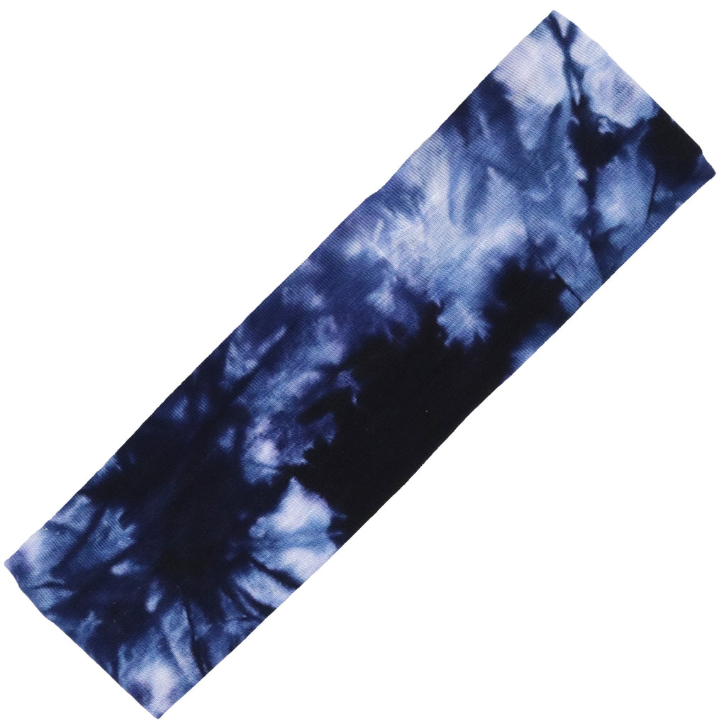 Cotton Headband Soft Stretch Headbands Sweat Absorbent Elastic Head Band Tie Dye Blue