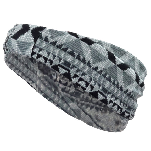 1 Boho Knotted Headband Black/Gray Tribal