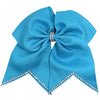 Rhinestone Cheer Bow for Girls 7 inch Large Hair Bows with Ponytail Holder