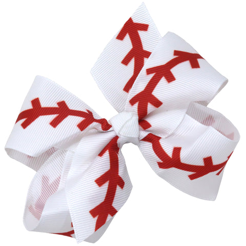 "4"" Classic Bow With Clip Holder Hair Bows Ribbon Bow Tie For Girls Baseball Seam"