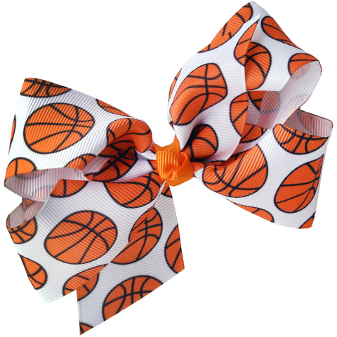 "4"" Classic Bow With Clip Holder Hair Bows Ribbon Bow Tie For Girls Basketball"
