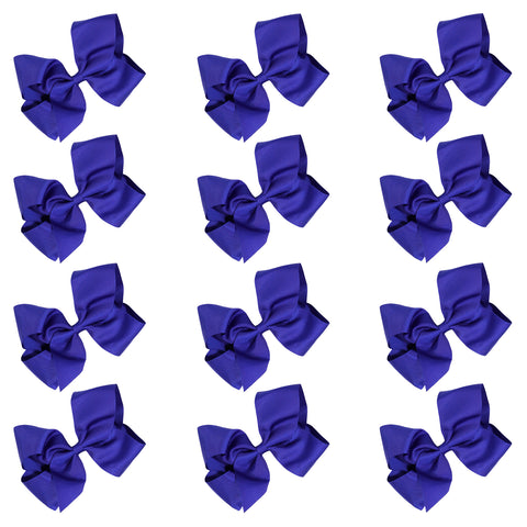 12 Blue Classic Cheer Bows Large 7 Inch Hair Bow with Clip