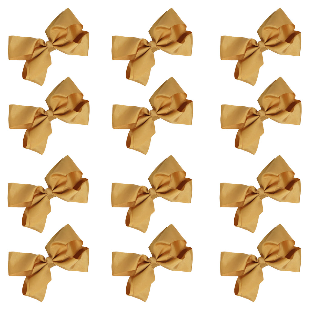 12 Gold Classic Cheer Bows Large 7 Inch Hair Bow with Clip