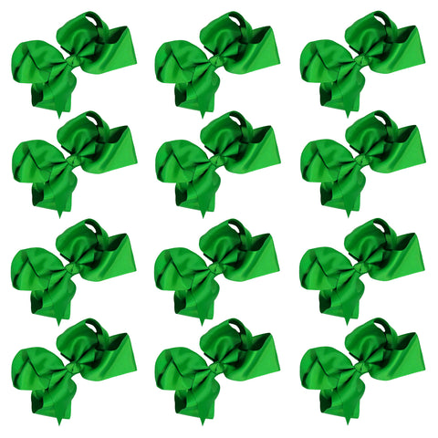 12 Green Classic Cheer Bows Large 7 Inch Hair Bow with Clip