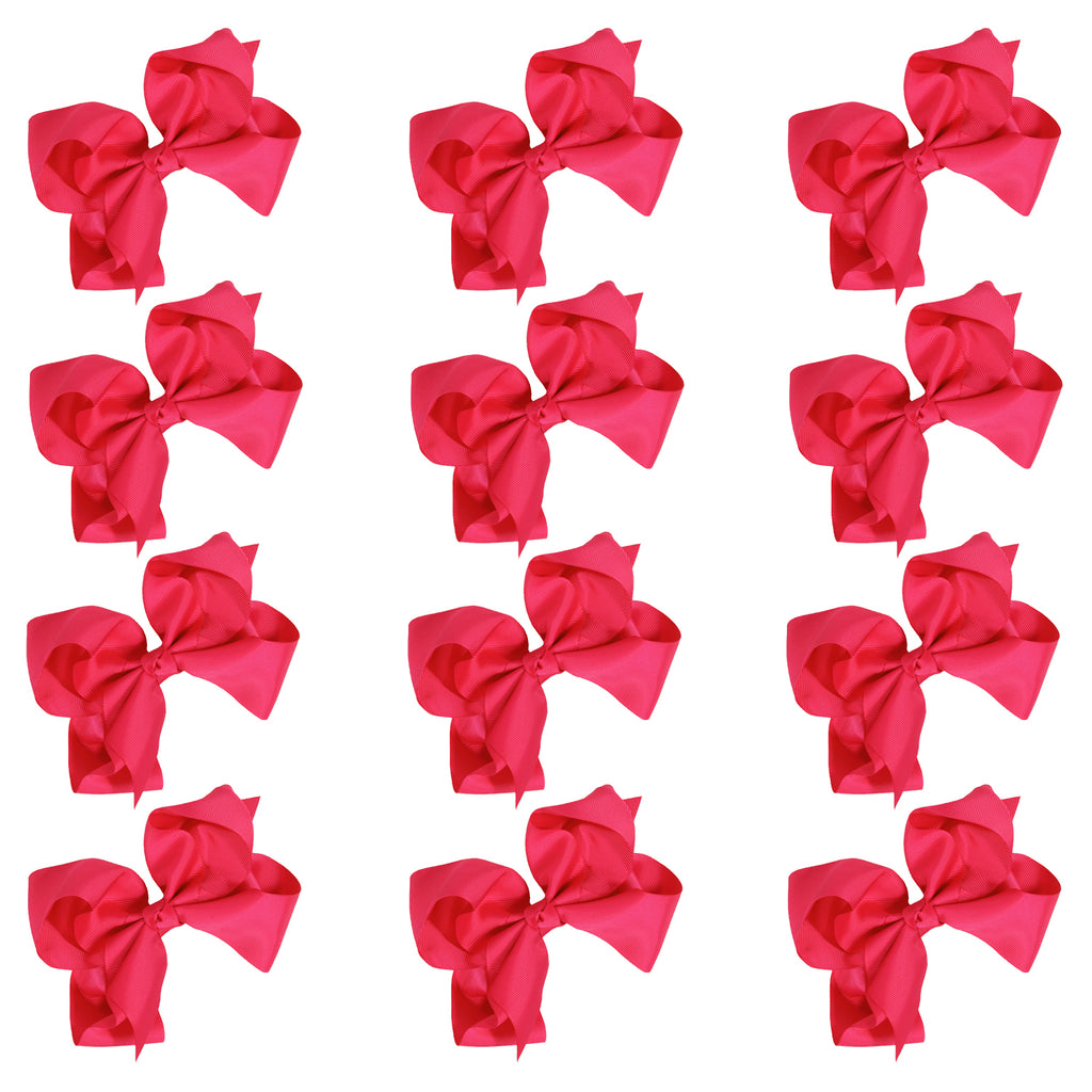 12 Hot Pink Classic Cheer Bows Large 7 Inch Hair Bow with Clip