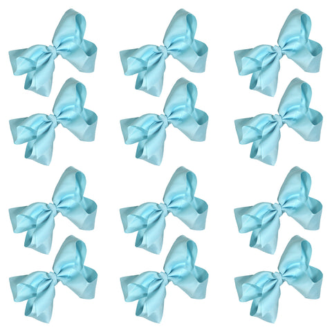 12 Light Blue Classic Cheer Bows Large 7 Inch Hair Bow with Clip