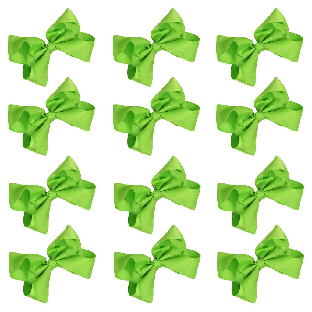 12 Lime Classic Cheer Bows Large 7 Inch Hair Bow with Clip