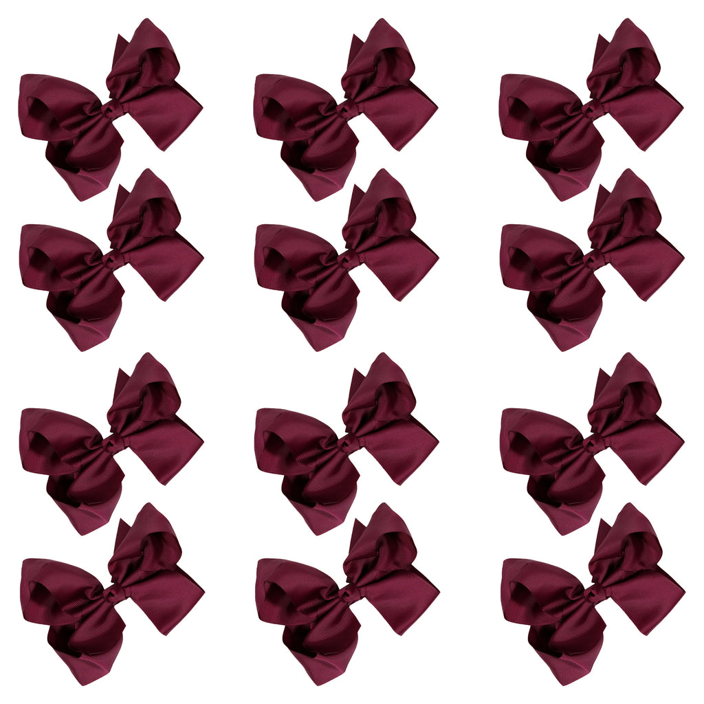 12 Burgundy Classic Cheer Bows Large 7 Inch Hair Bow with Clip