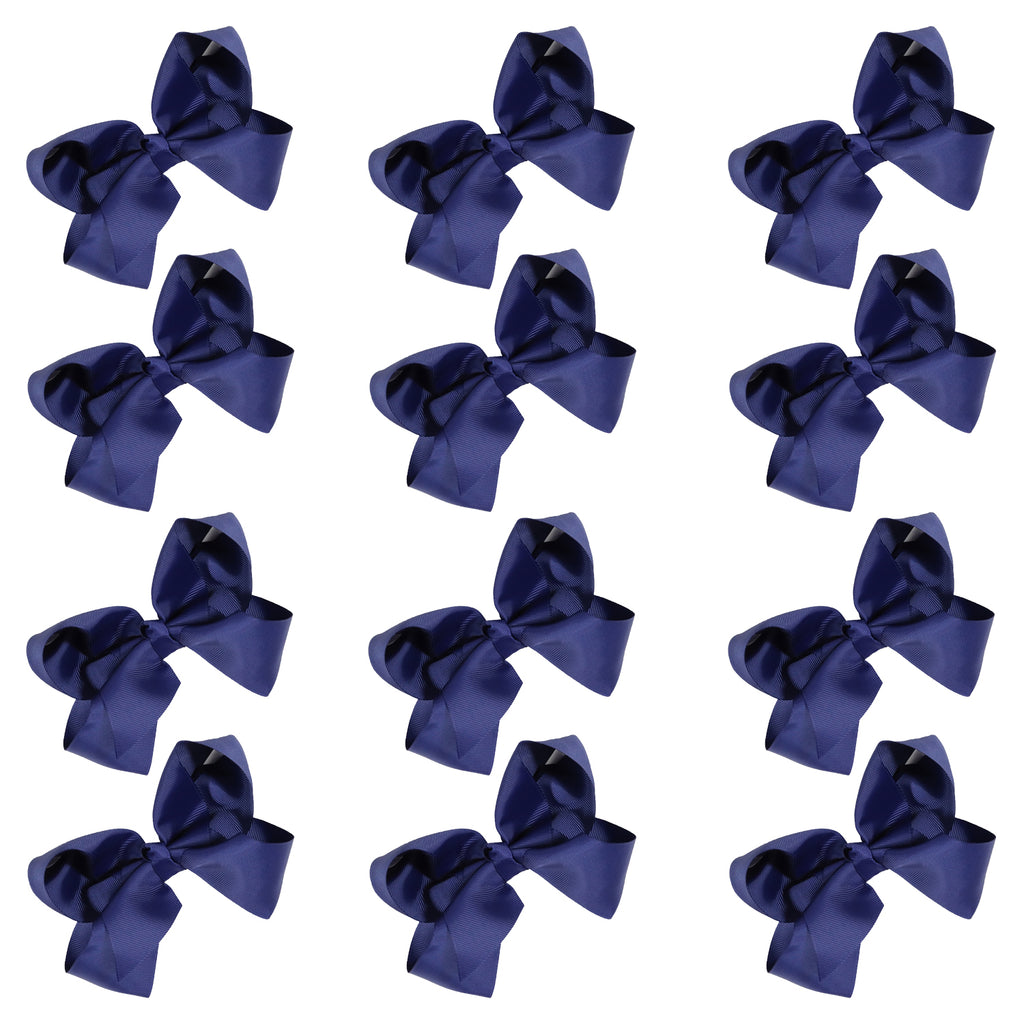 12 Navy Classic Cheer Bows Large 7 Inch Hair Bow with Clip