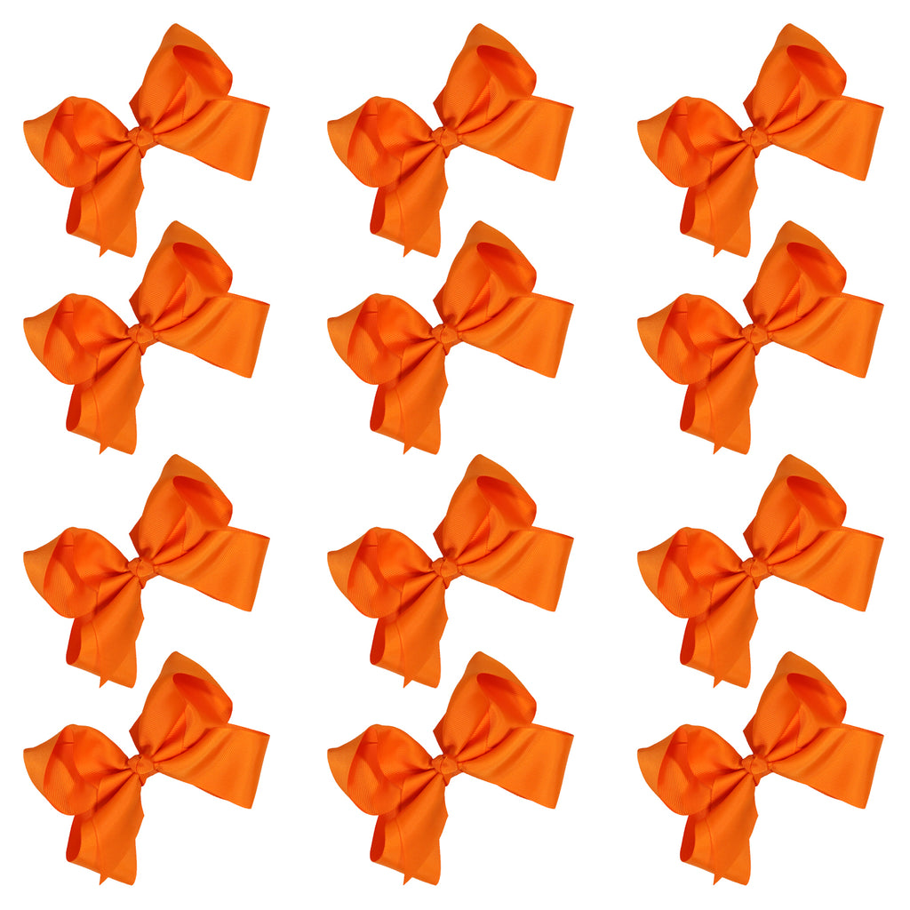 12 Orange Classic Cheer Bows Large 7 Inch Hair Bow with Clip