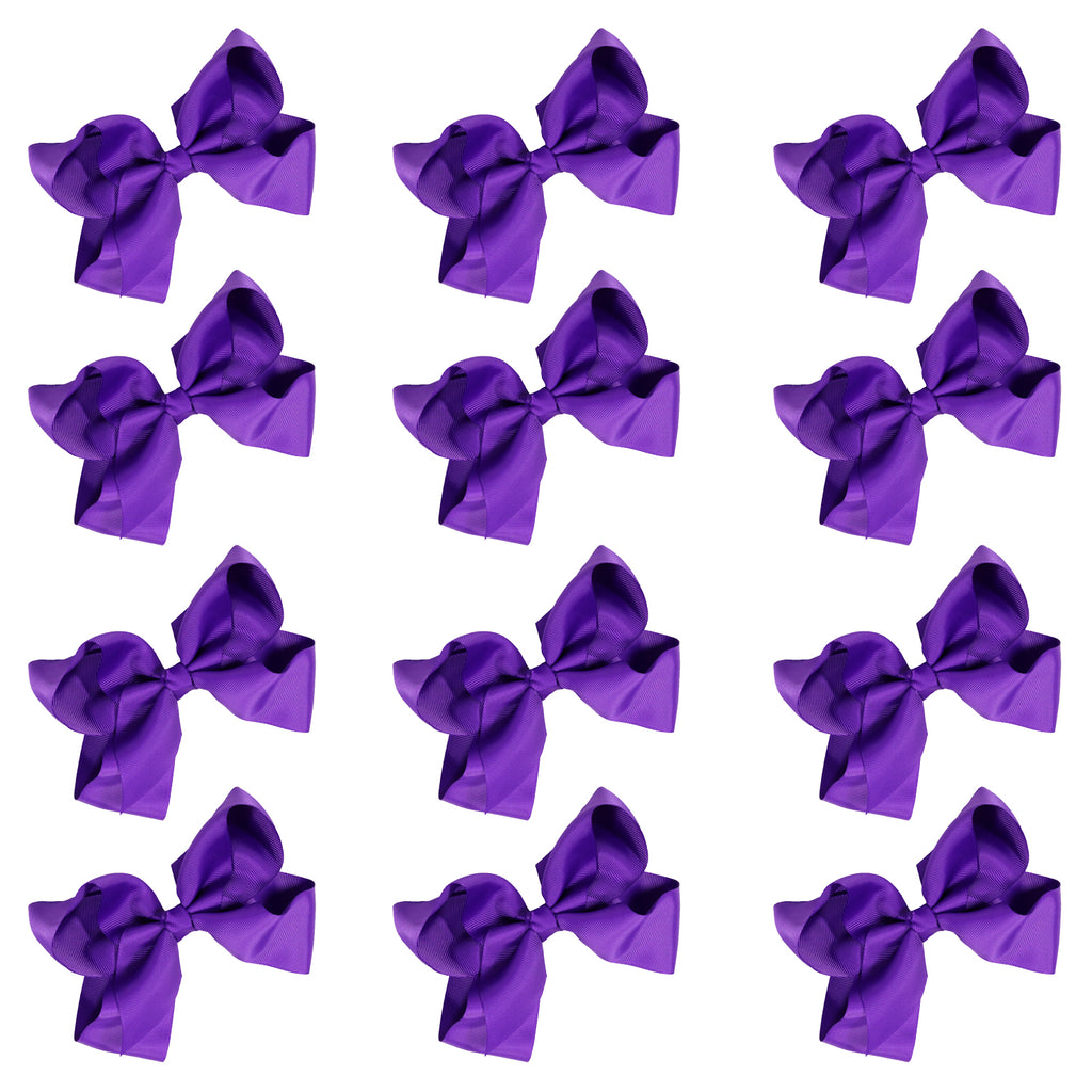 12 Purple Classic Cheer Bows Large 7 Inch Hair Bow with Clip