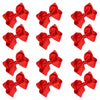 12 Red Classic Cheer Bows Large 7 Inch Hair Bow with Clip
