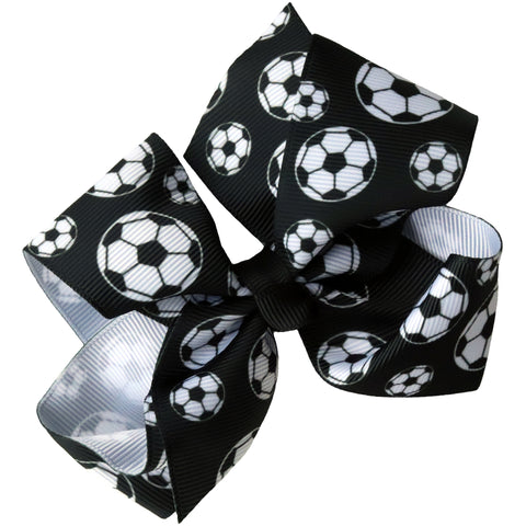 "4"" Classic Bow With Clip Holder Hair Bows Ribbon Bow Tie For Girls Soccer"