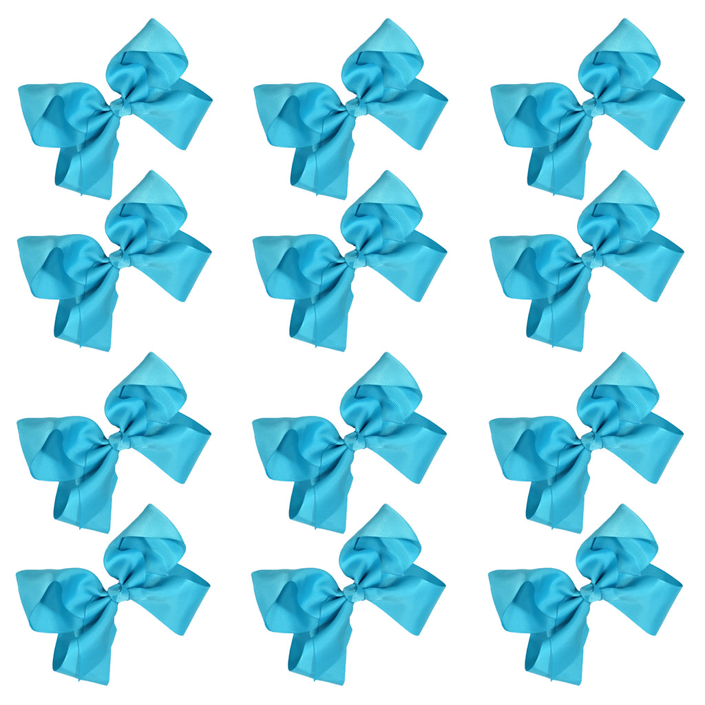12 Teal Classic Cheer Bows Large 7 Inch Hair Bow with Clip