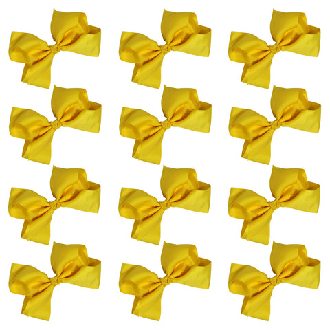 12 Yellow Classic Cheer Bows Large 7 Inch Hair Bow with Clip