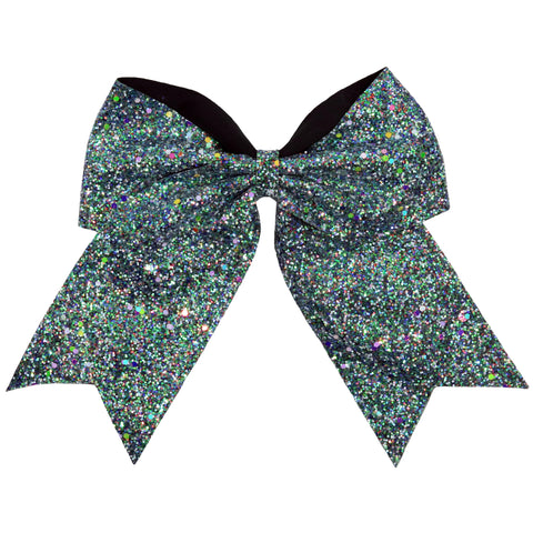 "1 Black Glow In The Dark Cheer Bow for Girls 7"" Large Hair Bows with Ponytail Holder Ribbon"