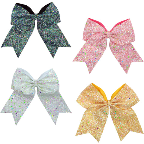 "Glow In The Dark Cheer Bow for Girls 7"" Large Hair Bows with Ponytail Holder Ribbon You Pick Colors and Quantities"