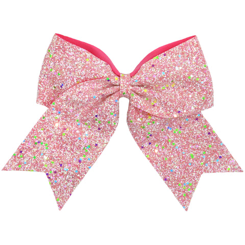"1 Pink Glow In The Dark Cheer Bow for Girls 7"" Large Hair Bows with Ponytail Holder Ribbon"