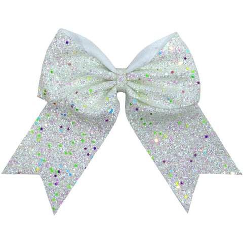 "1 White Glow In The Dark Cheer Bow for Girls 7"" Large Hair Bows with Ponytail Holder Ribbon"