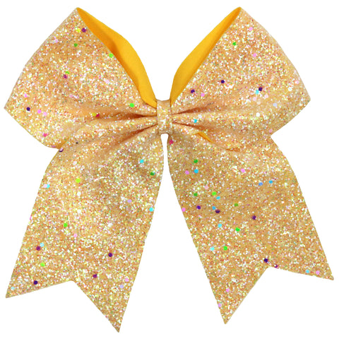 "1 Yellow Glow In The Dark Cheer Bow for Girls 7"" Large Hair Bows with Ponytail Holder Ribbon"