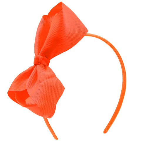 Grosgrain Ribbon Headband With Bow Neon Orange