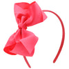 Grosgrain Ribbon Headband With Bow Neon Pink