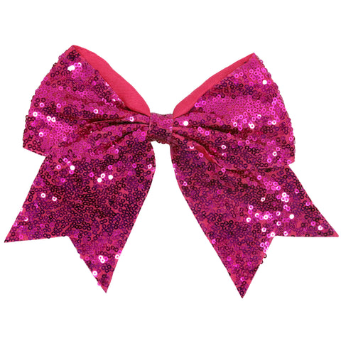"1 Hot Pink Sequin Glitter Cheer Bow for Girls 7"" Large Hair Bows with Ponytail Holder Ribbon"