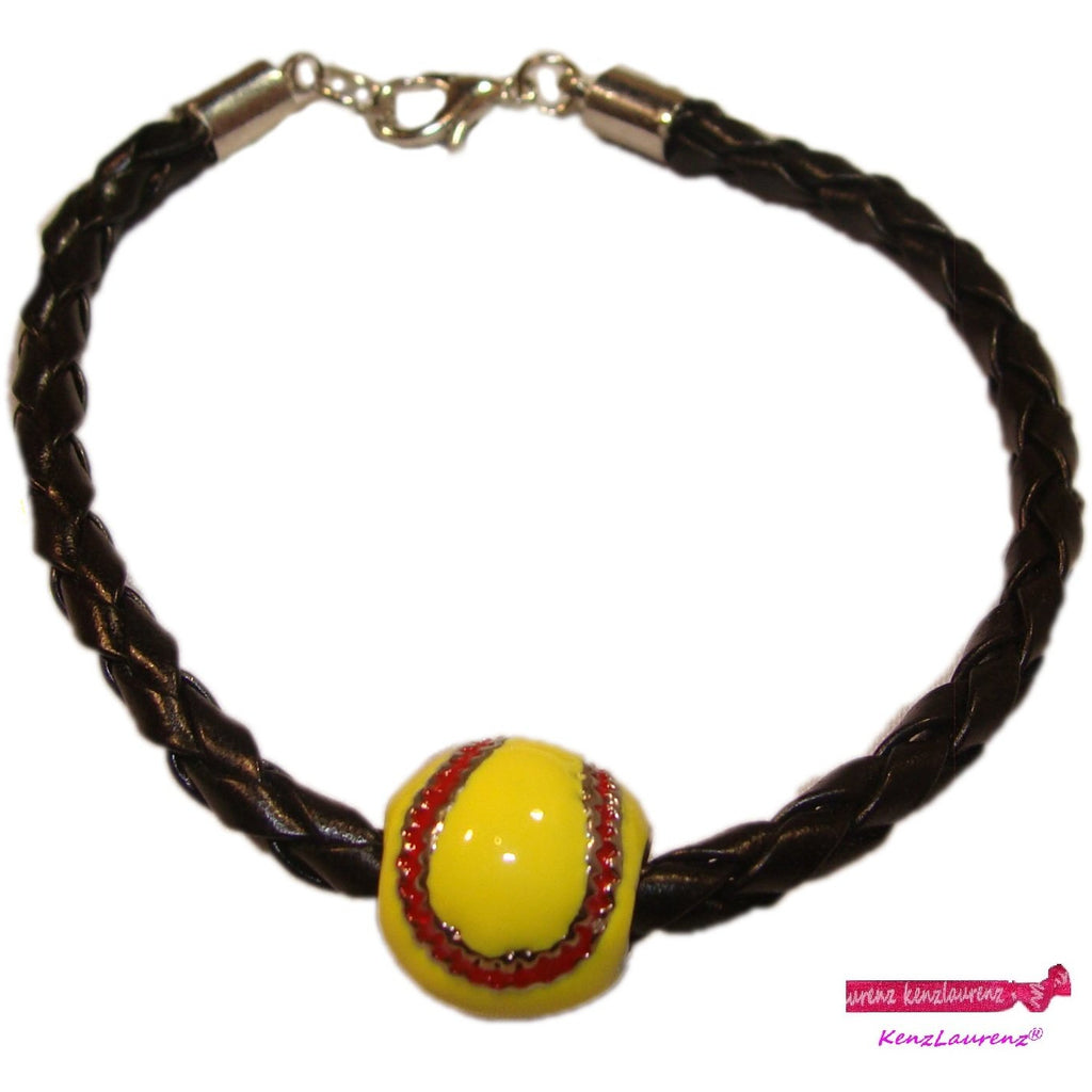 Softball Bracelet Leather Enamel Jewelry Softball Gifts for Girls Coach Team