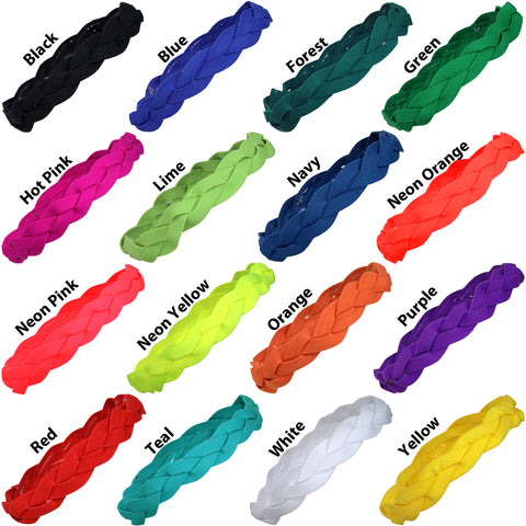 Non Slip Sports Headbands 24 Braided Athletic Head Bands You Pick Colors