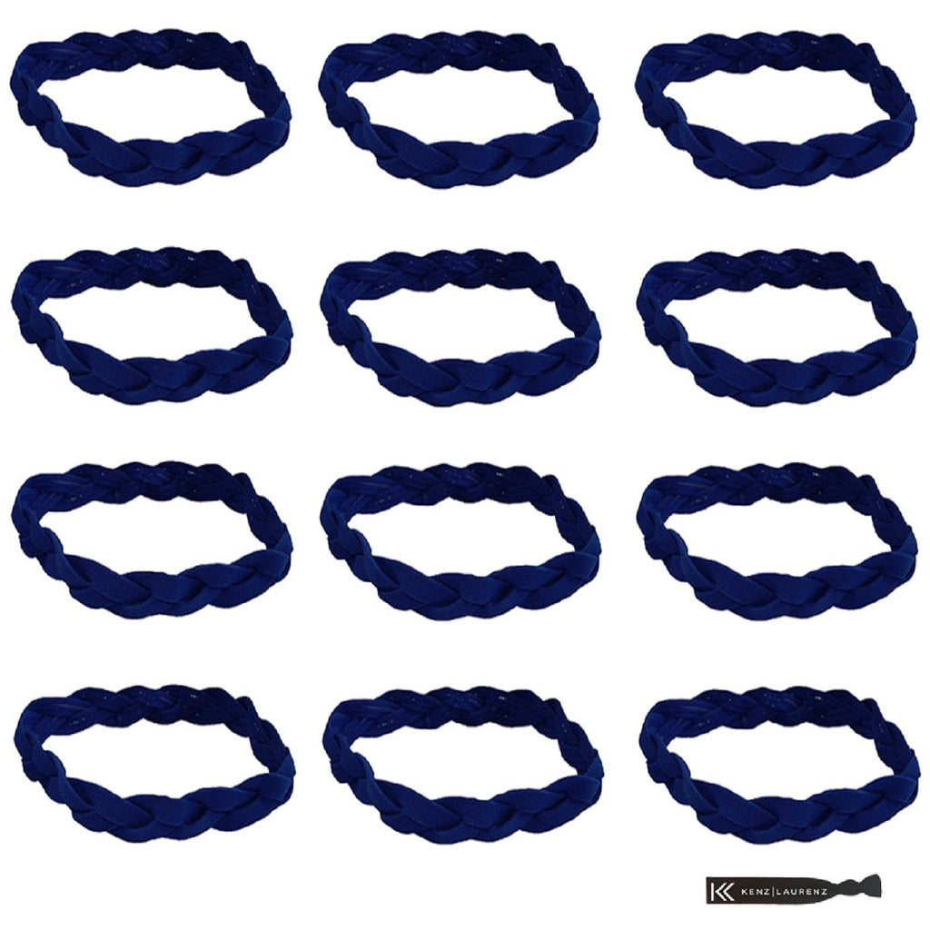 Non Slip Sports Headbands 12 Braided Athletic Head Bands Blue