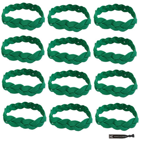 Non Slip Sports Headbands 12 Braided Athletic Head Bands Green