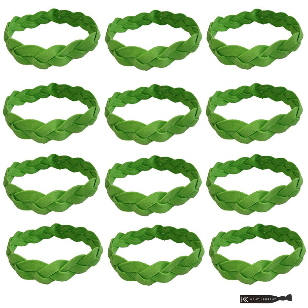 Non Slip Sports Headbands 12 Braided Athletic Head Bands Lime