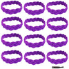 Non Slip Sports Headbands 12 Braided Athletic Head Bands Purple