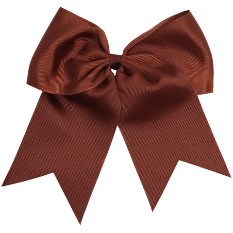 "1 Brown Cheer Bow for Girls 7"" Large Hair Bows with Ponytail Holder Ribbon"