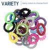 6 Hair Ties Elastic Coils Assorted Ponytail Holders Plastic Rubber Band