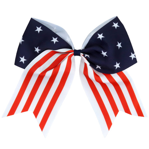 "4th of July Cheer Bow for Girls Stars and Stripes Red White and Blue 7"" Large Hair Bows with Ponytail Holder Sports Ribbon"