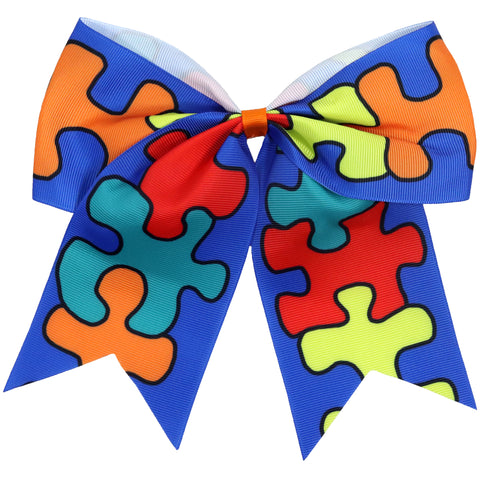 "1 Autism Awareness Cheer Bow for Girls 7"" Large Hair Bows with Ponytail Holder Ribbon"