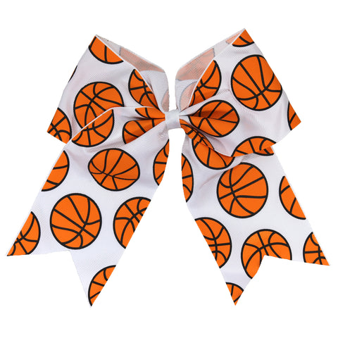"1 Basketball Cheer Bow for Girls 7"" Large Hair Bows with Ponytail Holder Sports Bow Ribbon"