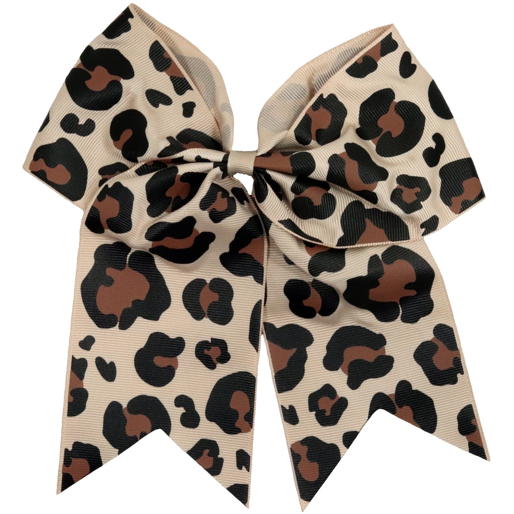 "1 Cheetah Leopard Cheer Bow for Girls 7"" Large Hair Bows with Ponytail Holder Ribbon"