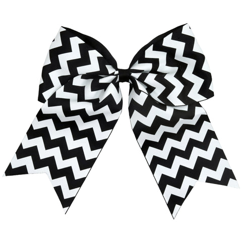 "1 Black White Chevron Cheer Bow for Girls 7"" Large Hair Bows with Ponytail Holder Ribbon"