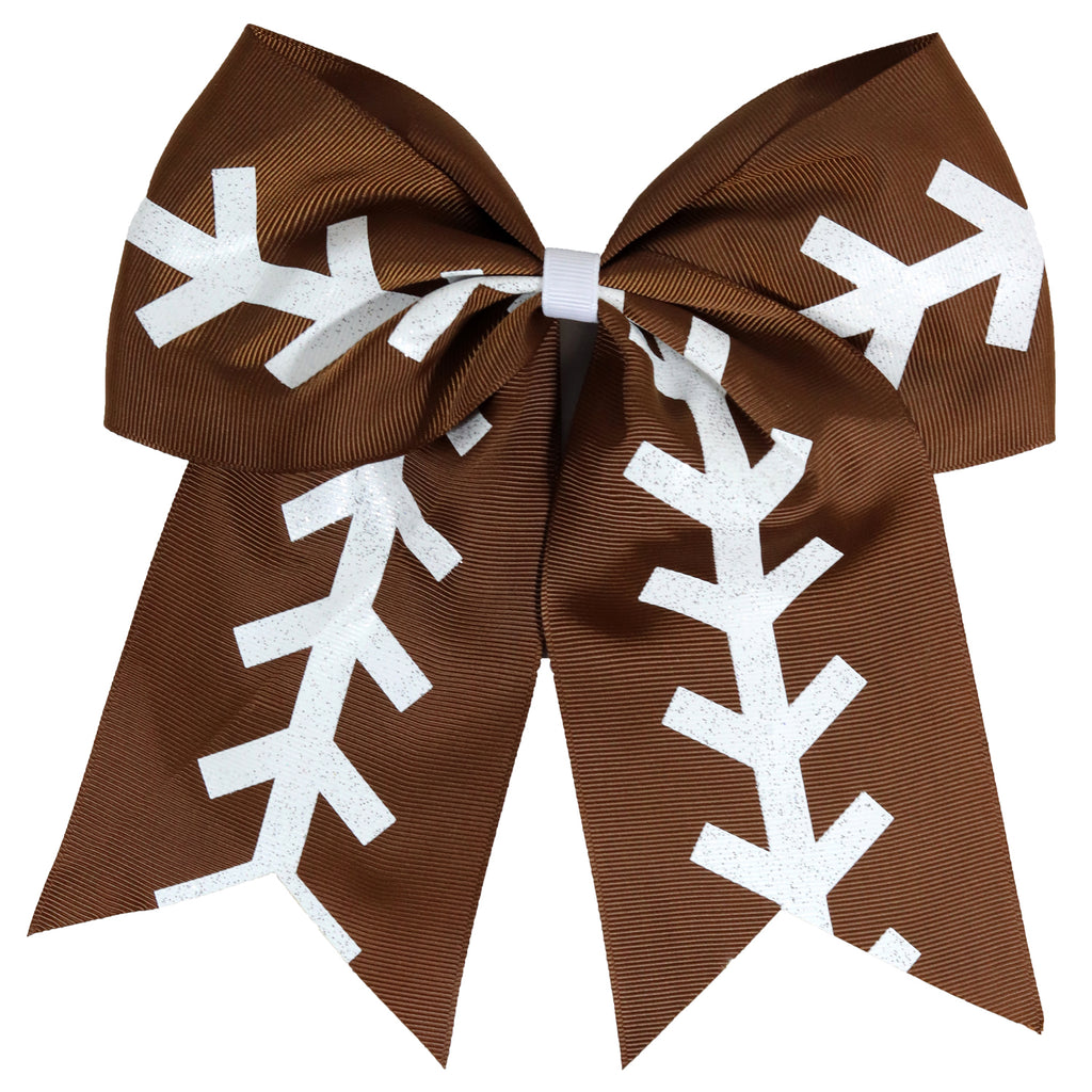 "1 Football Cheer Bow for Girls 7"" Large Hair Bows with Ponytail Holder Ribbon"