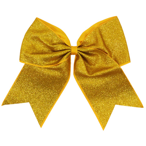 "Athletic Gold Glitter Cheer Bow for Girls 7"" Large Hair Bows with Ponytail Holder Ribbon"
