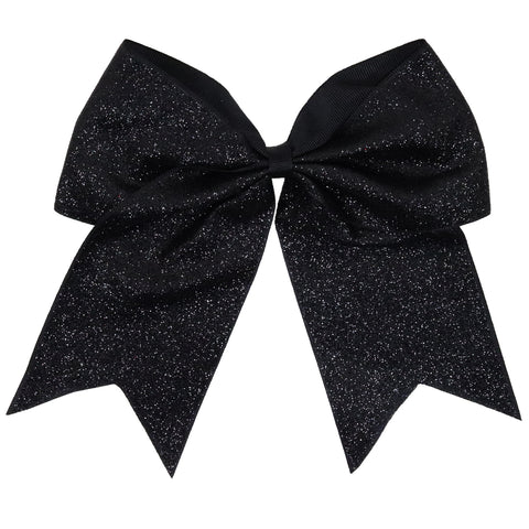 "1 Black Glitter Cheer Bow for Girls 7"" Large Hair Bows with Ponytail Holder Ribbon"