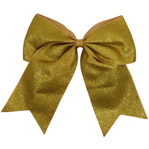 "1 Gold Glitter Cheer Bow for Girls 7"" Large Hair Bows with Ponytail Holder Ribbon"