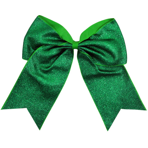"Green Glitter Cheer Bow for Girls 7"" Large Hair Bows with Ponytail Holder Ribbon"